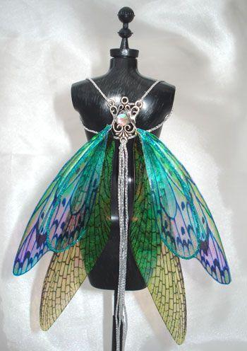 OOAK Fairy Pixie Bear BJD Iridescent Artist Doll Harness Wings - NEW! | eBay