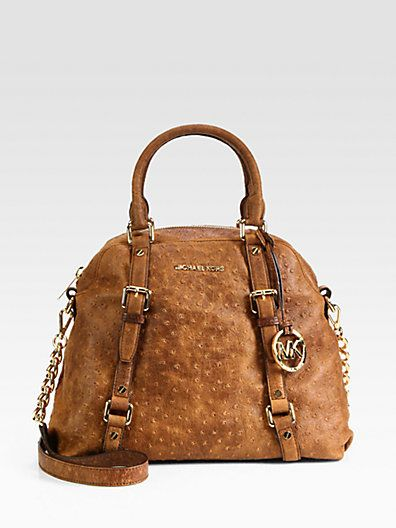 Lusting after this bag right now. Not usually a Kors fan, but I LOVE the ostrich texture. MICHAEL MICHAEL KORS - Bedford Ostrich-Embossed Bowling Satchel - Saks.com