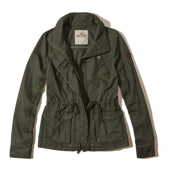 Hollister Twill Shirt Jacket ($60) ❤ liked on Polyvore featuring outerwear, jackets, olive, zipper jacket, hollister co jackets, zip pocket jacket, utility jacket and twill jacket