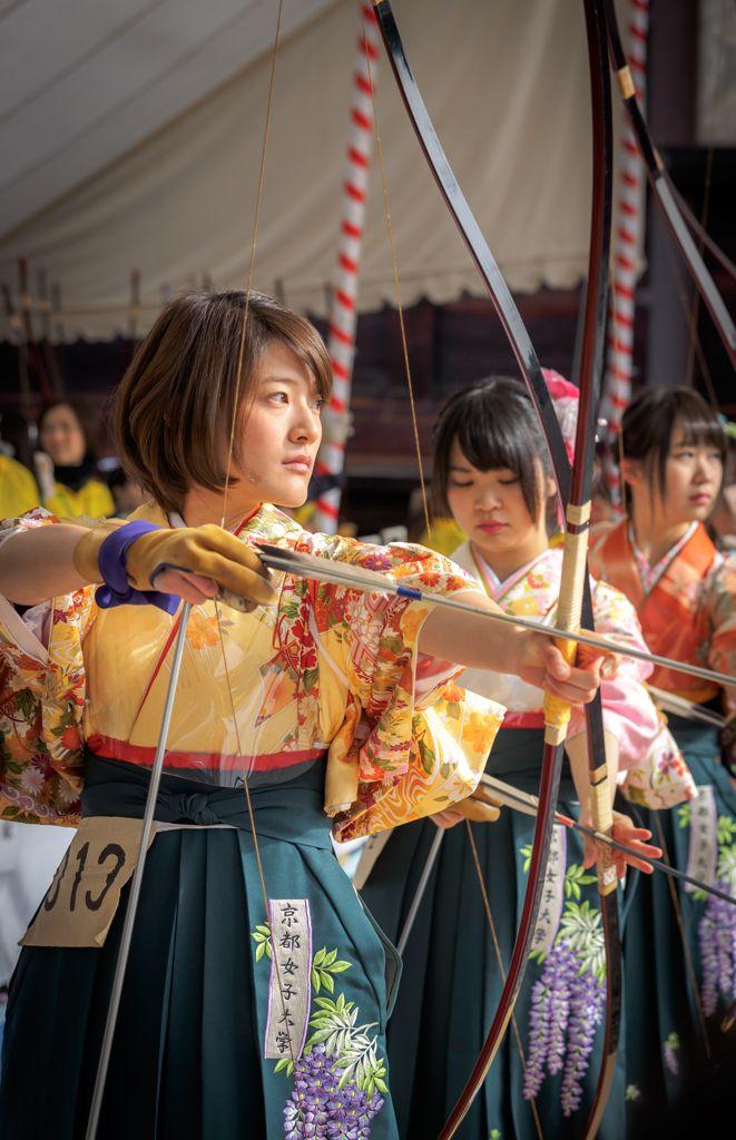 Archery, Coming of Age Day, Sanjuusangendo (temple), Kyoto 弓道 大的大会 三十三間堂 KYOTO JAPAN