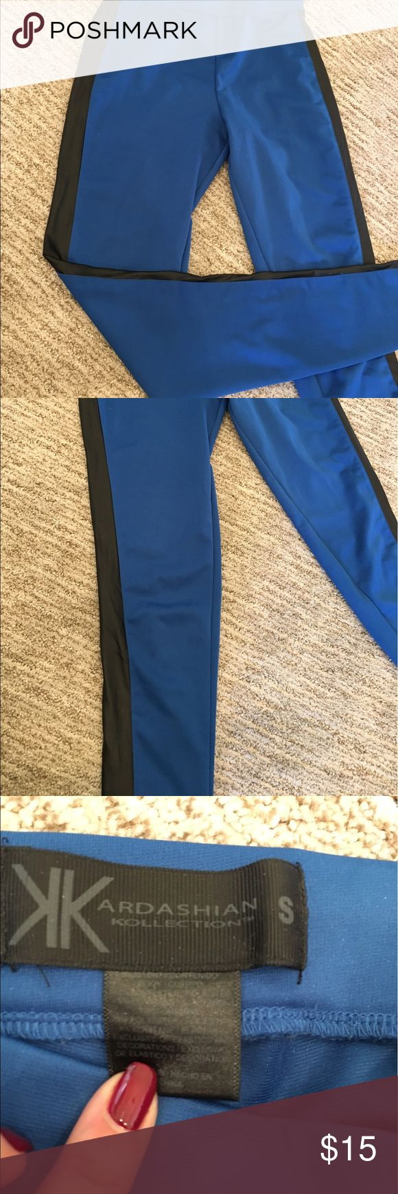 Kardashian Kollection skinny pants/leggings Blue with black sides Kardashian Kollection Pants Skinny