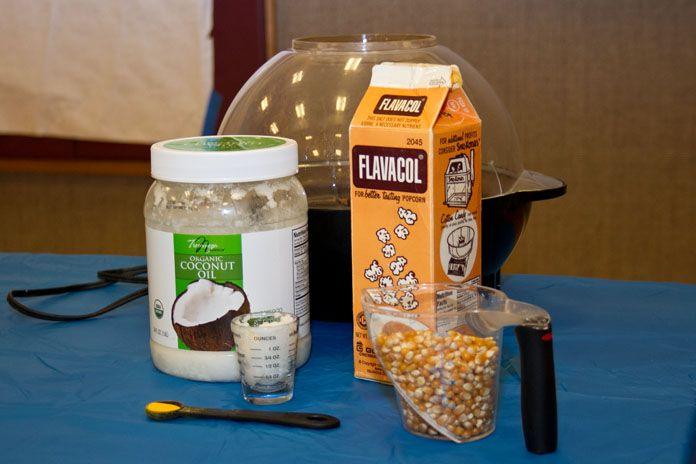 Healthy movie theater popcorn.  2tbls. Coconut oil, 3/4c popping corn, 1/2tsp. Flavacol.  Place together in popcorn cooker (Stir crazy Popper works great) and pop.  If you like your popcorn really salty add more Flavacol when cooking.  You can always add it after cooking as well.