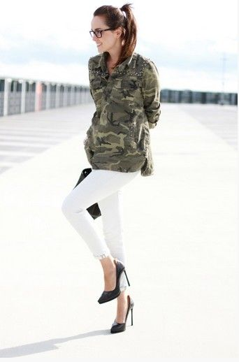 Military trend inspiration for spring 2014- camo shirt and white jeans