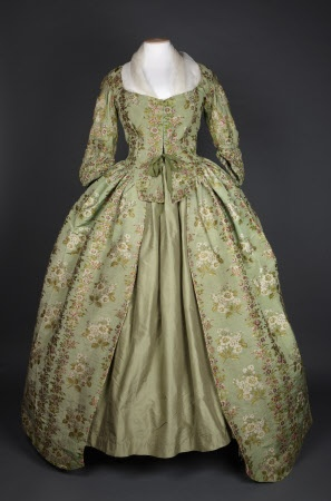 A brocaded silk robe in apple green with flower design 1780 (Springhill Costume Collection © National Trust / Andrew Patterson)