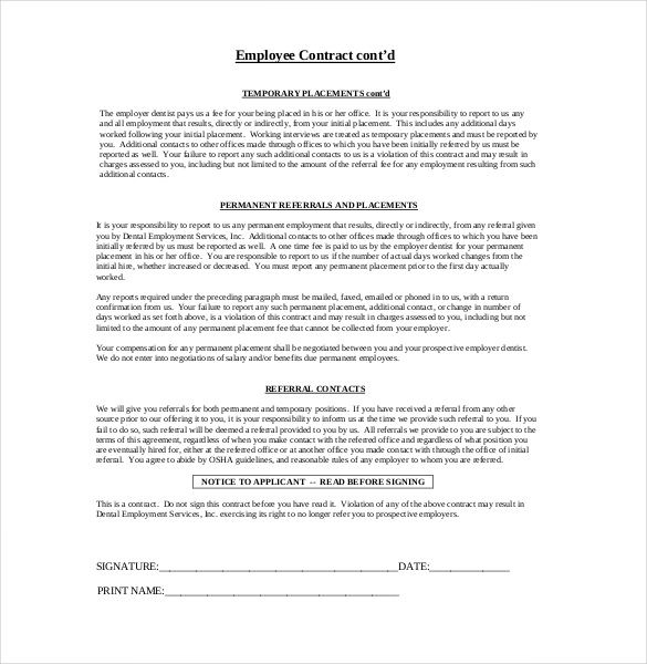 10 Employment Agreement Templates Word Excel Pdf Templates Contract Template Word Template Template Free