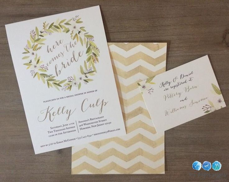 Rustic yellow watercolor floral and chevron bridal shower invitations