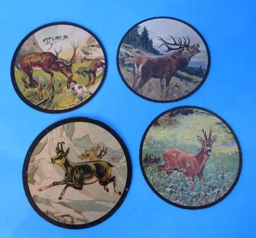 4 Small German Shooting Targets WWII Military 1938 Hunt Stag Buck Chamoix