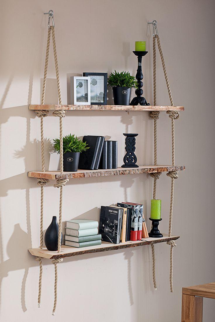 Aus dieser hochwertigen Blockware lassen sich formschöne Möbel mit rustikalem Flair für Haus und Garten sowie schicke Deko-Elemente ganz einfach selbst gestalten z. B. dieses hängendes Regal.