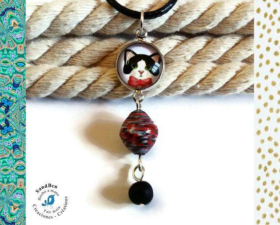Pendentif Chat Perles Papier Collier Chat Noir Noeud Rouge