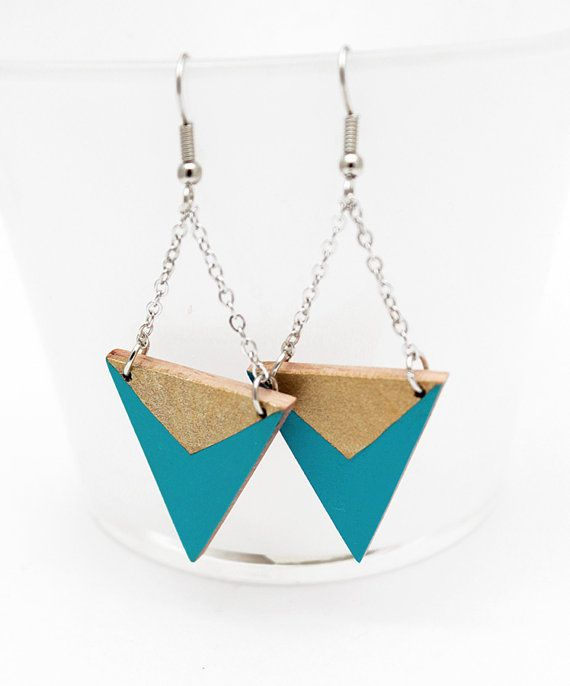 Geometric triangle wooden earrings turquoise blue by TheiaDesign, $22.00
