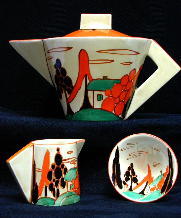 Clarice Cliff - Trees & House (Alpine) orange colourway Teapot set in conical shape. 1929