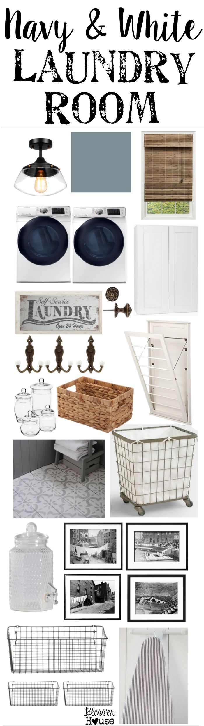 Navy and White Laundry Room Design Plans | blesserhouse.com - A laundry room design plan mood board featuring deep blues, bright whites, and vintage-inspired storage solutions on a tight budget.