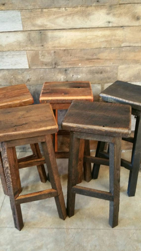 Reclaimed Rectangle Barn Wood Bar Stool Sealed or Painted FREE SHIPPING - REBSC128F & Best 25+ Rustic bar stools ideas on Pinterest | Bar stools kitchen ... islam-shia.org