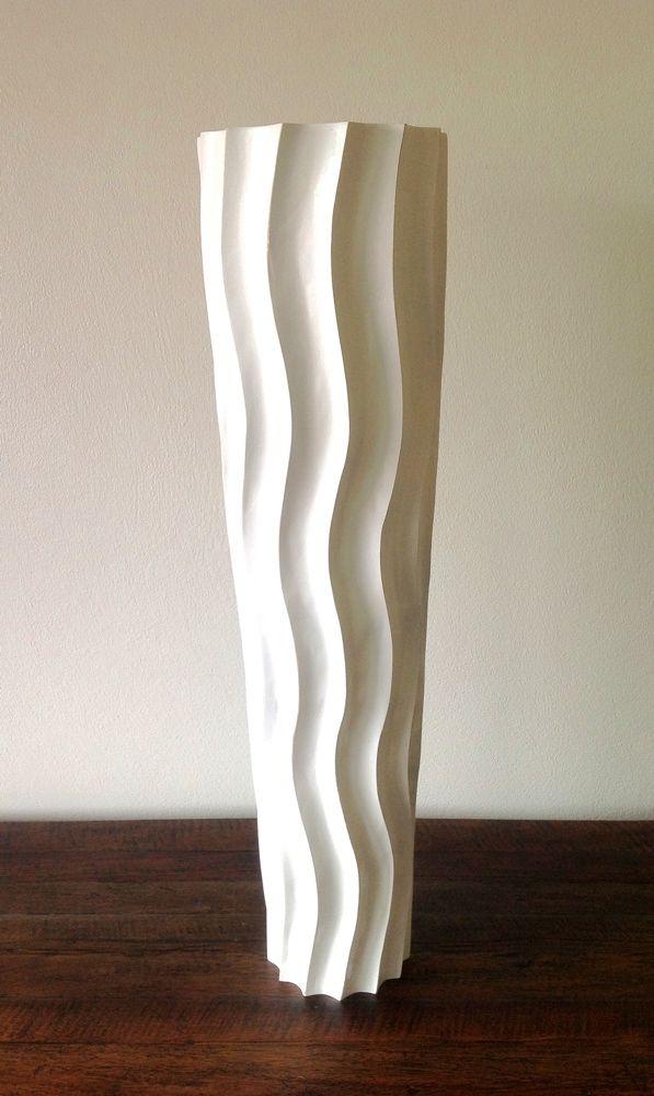 Decorative Tall Floor Vase - Wood - Height 75cm (White, Mango Wood)