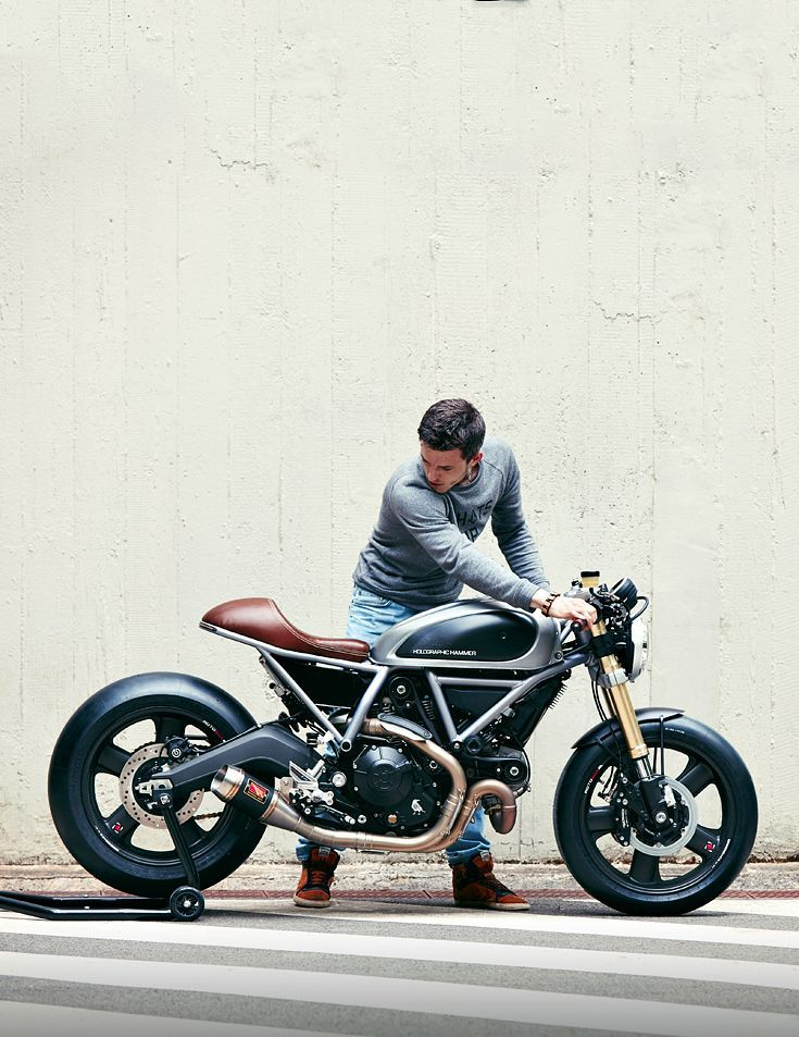 This sharp custom Ducati Scrambler is the first build from the new Holographic Hammer workshop.