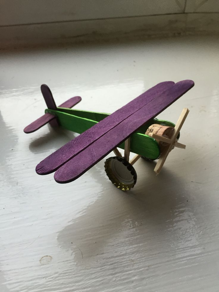 Aeroplane Made From Lollipop Sticks With Recycled