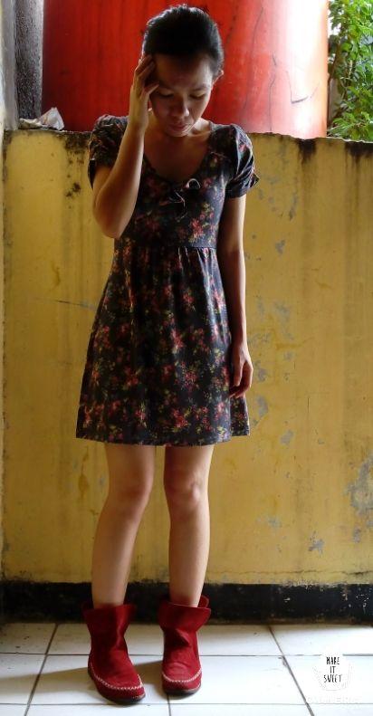 #Spandek #Mini #dress #flowers #boots #red