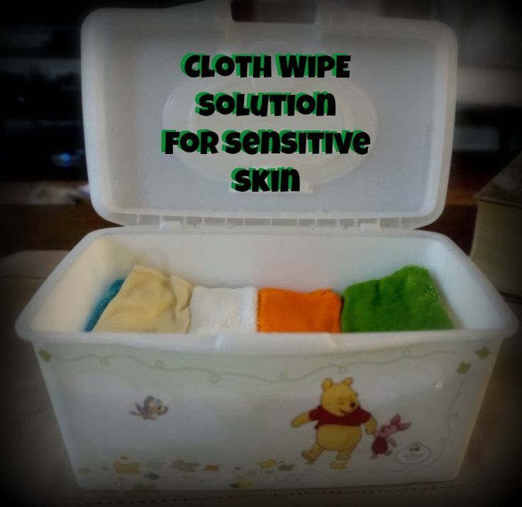 Cloth Wipe Solution for babies with sensitive skin. You want to avoid the essential oils in most solutions with sensitive skin, it can really burn them. Read more here.