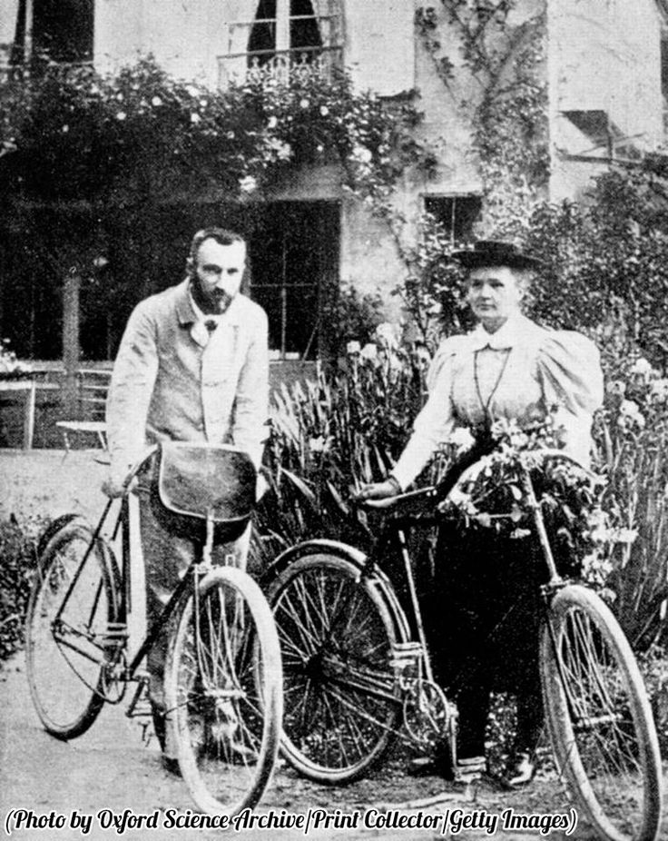 History In Pictures.Pierre and Marie Skłodowska Curie, preparing to go cycling, circa 1890s.