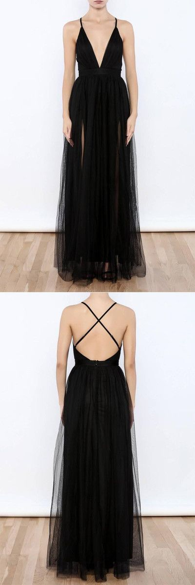 Sexy Black V Neck Side Slit Tulle Evening Gowns Prom Dress