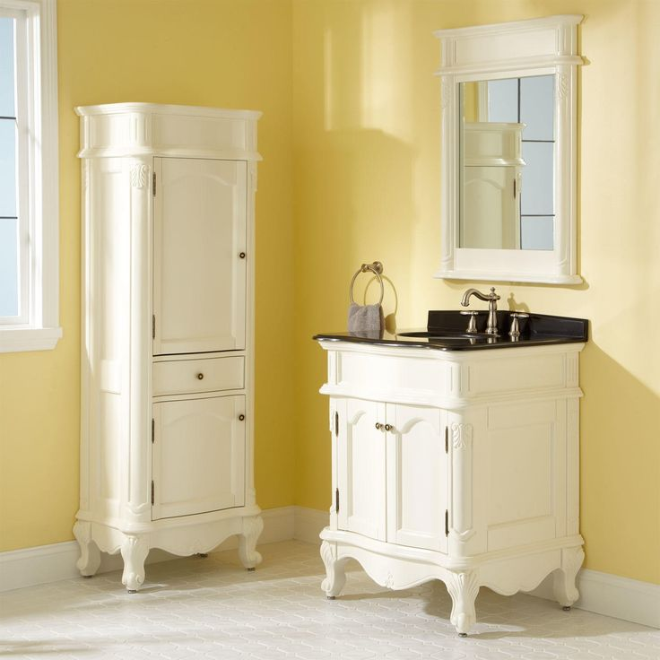 Sedwick Creamy White Vanity with Black Galaxy