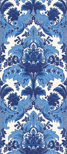 Blue and white Aldwych damask wallpaper, by Cole & Son