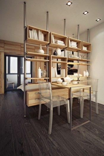 ゴチャゴチャしがちなダイニングも、こんなパーテーションがあればスッキリ。引き出しも付いているのでお皿をしまったり、小物を置いたりと空間を楽しむことができます。