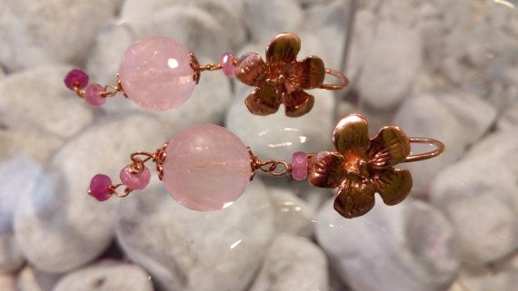 Ruby and Rose Quartz earrings