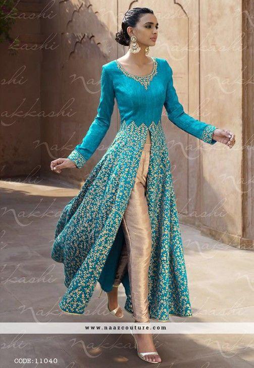 Blue And Cream Designer Bhagalpuri Silk Lehenga Style Salwar Kameez