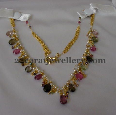 Jewellery Designs: Garnet and Multicolor Drops Sets