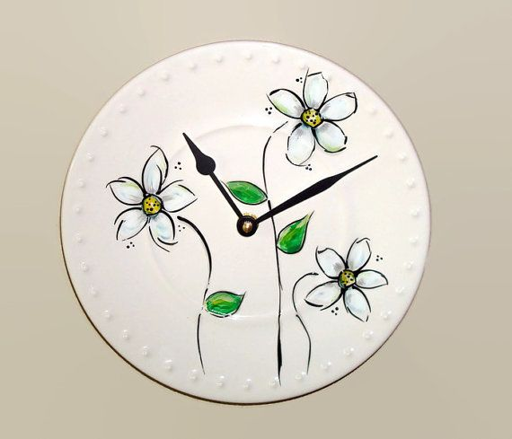 NEW Hand Painted Daisy Wall Clock 9 inches SILENT by makingtimetc