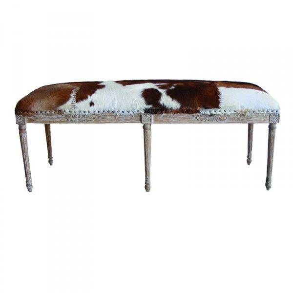 goat skin and oak double stool