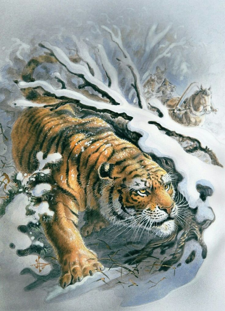 картинка декупаж тигр красивом