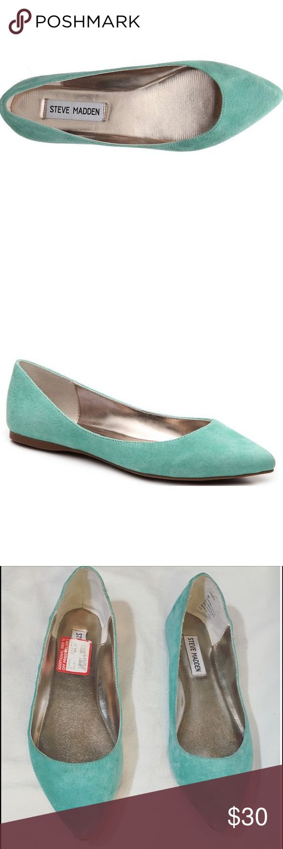 Steve Madden Haanna Suede Flat Turquoise Size 8 Slip into these vibrant pointed toe flats from Steve Madden. The suede Haanna ballet is a stylish way to add more pep to your step every day. Suede upper Pointed toe Synthetic sole Steve Madden Shoes Flats & Loafers