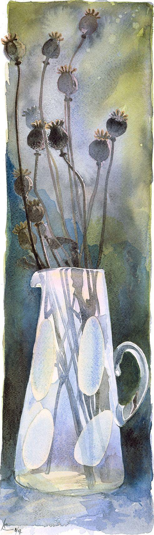 Titel: Mohn Samenköpfe Dies ist eine hochwertige volle Größe Giclee Druck, von einer original-Aquarell Mohn Köpfe in einer Vase. Das