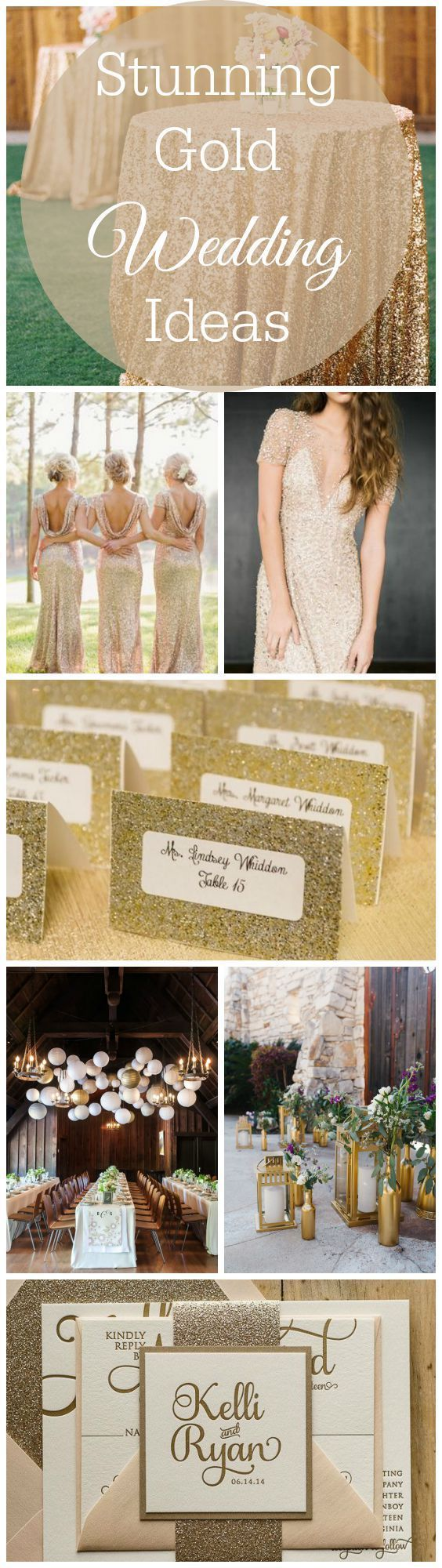 Finding the right rustic wedding color theme sometimes is as simple as going with a classic gold! We feel hard for each and every one of these stunning ideas which you could easily add to your big day