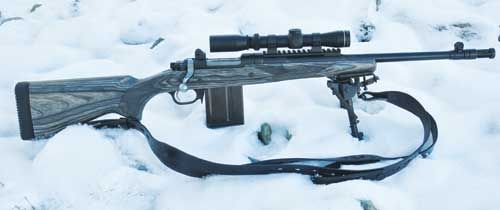 """Ruger """"Scout Rifle,"""" trying to cash in on the trend.  308 Winchester (7.62mm NATO), magazine-fed, bolt-action, iron sights and scope-ready, 16.5 inch barrel general purpose carbine.  Wouldn't recommend it over the Steyr for accuracy, but cheaper and probably good enough for routine jobs."""