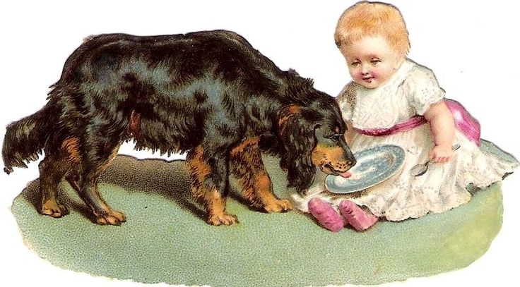 Oblaten Glanzbild scrap die cut chromo Baby bebe Kind child Hund dog girl  chien