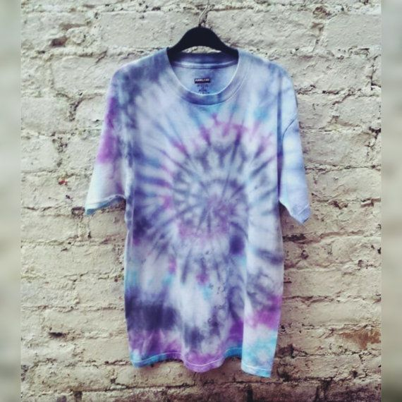 Mens Tie Dye T-shirt Purple Blue & Black Hippie Shirt ALL Sizes Available Custom Made to Order Christmas Gifts