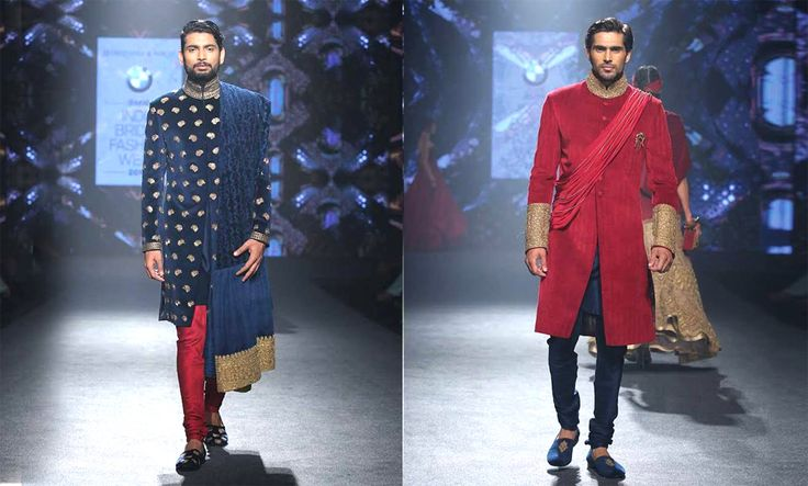 Scarlet with Blue: Spring in the admiration of this snazzy sherwani combination, and create a boss statement. The best part – it can be worn both ways by unveiling something that will be way more than just ordinary to the onlookers.