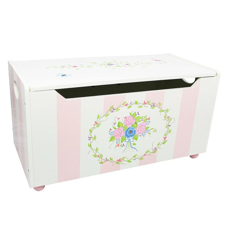This hand painted Bouquet themed girl's toy box is a great way to decorate and organize your little one's room.<br><br>The Fantasy Fields Children's Bouquet Toy Chest Features:<br><ul><li>Hand Made</li><br><li>Measures 32.5 Inch x 14.63 Inch x 16.25 Inch</li></ul><br><br>Since 1997, Teamson Design Corp. has been known for its high standard in designing quality children's furniture and toys. All of Teamson's creations are painted by hand for truly unique, one-of-a-kind pieces. Beautiful…