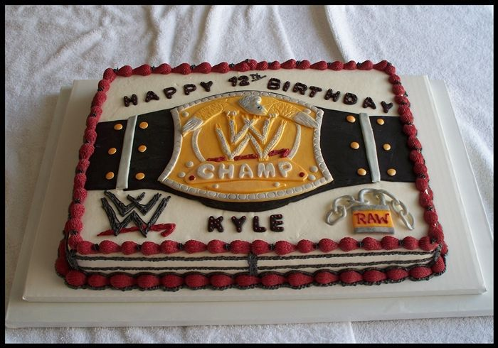 Possible for Tevin 2013 (7th)  WWE - 11X15 Frosted in buttercream. Belt, lock and chain are made out of MMF.