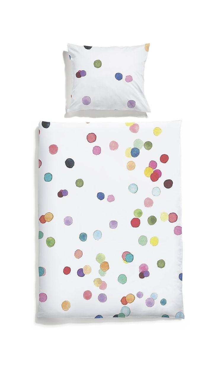 White pocket kids bedding #dots #colorfull #watercolor #bedlinen