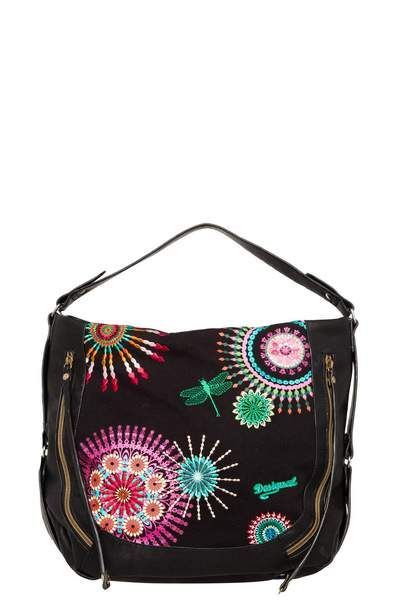 This black bag has embroidered mandalas and an embroidered dragonfly that will add fun and color to your look. You can wear it on your arm or as a messenger bag. It has 2 outer pockets and measures 45 x 16 x 35 cm.