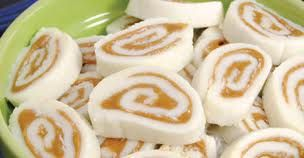 My mother made these frequently! No wonder I have a sweet tooth… Peanut Butter Pinwheels 16 oz. powdered sugar 11/2cups powdered sugar (to keep dough from sticking to paper) 1/2cup soften…