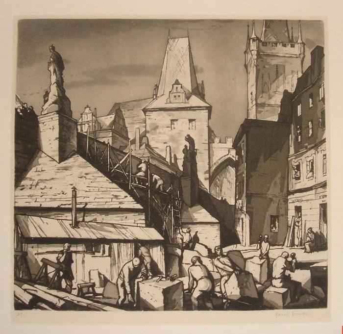 Pavel Šimon: Work at the Carl Bridge. Prague. Etching.