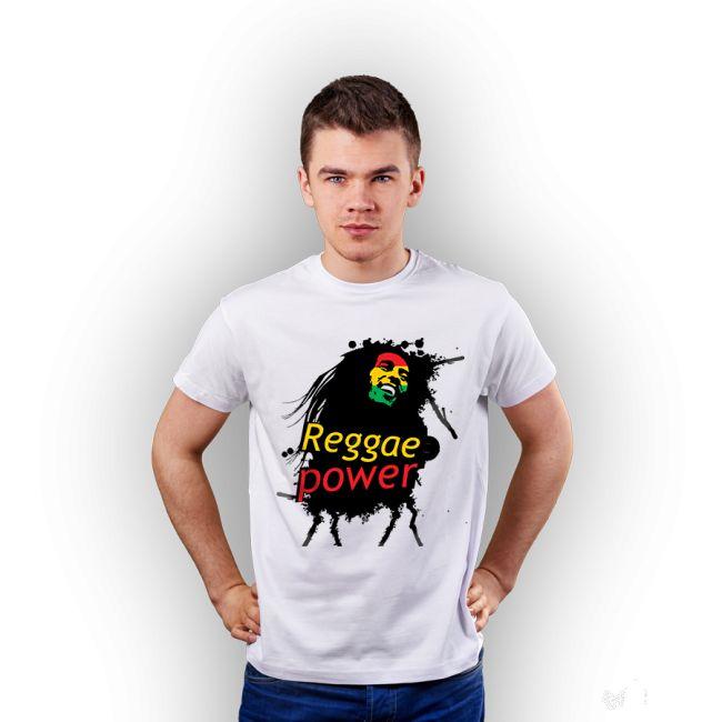 Koszulka męska z nadrukiem Reggae, biała.  #tshirt #męski #men #koszulka #nadruk #biała #reggae #bob #marley #rasta #reggaepower #tshuttle #fajny #prezent