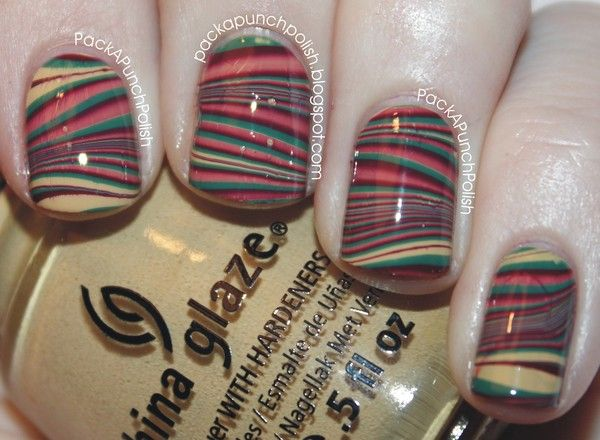 Fall Water Marble Nails