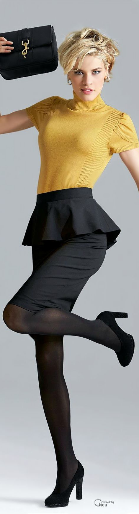 black peplum skirt and yellow shirt, business causal outfit for the office