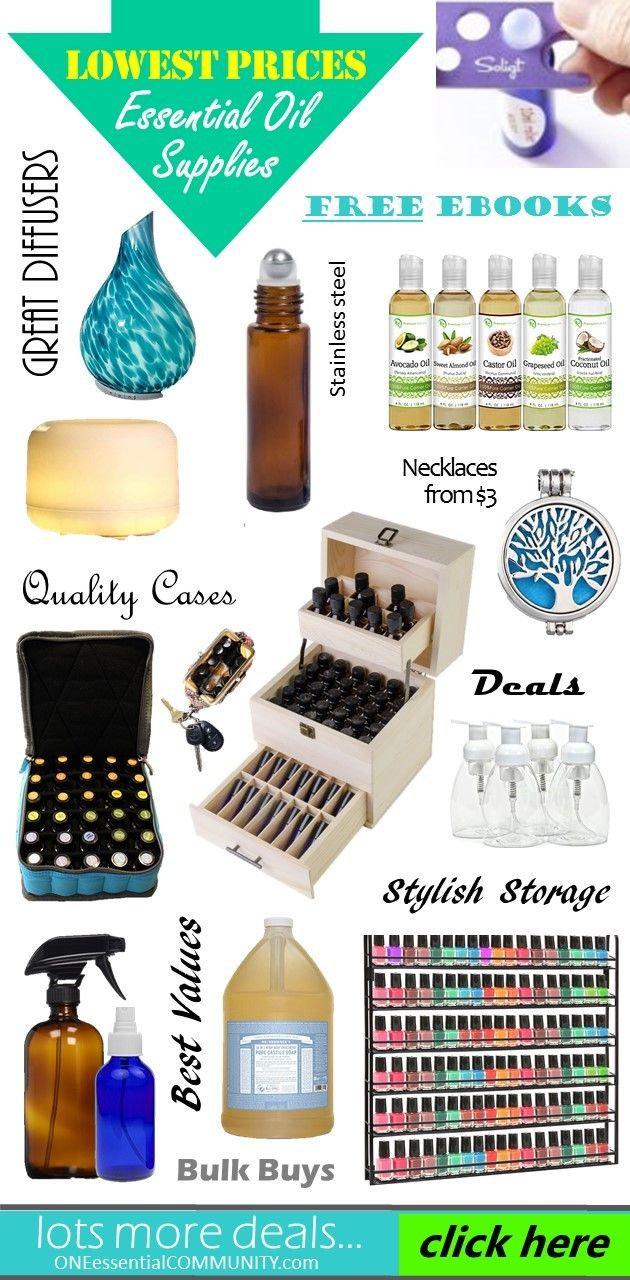Love this!  Best deals for essential oil supplies!!  Ultrasonic diffuser that runs for up to 10 hours for only $16.50, diffuser necklaces from $3, essential oil cases, glass spray bottles, carrier oils, essential oil tools -- lots of GREAT deals!!